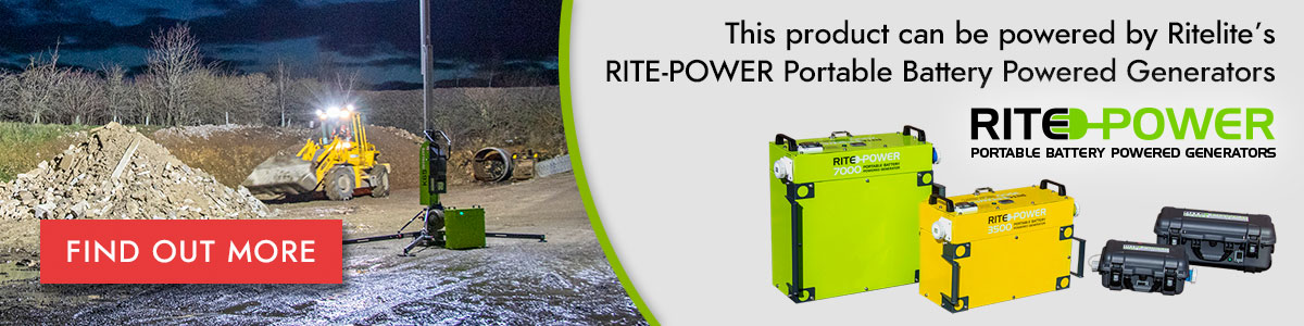 This product can be powered by Ritelite's RITE-POWER portable battery powered generators